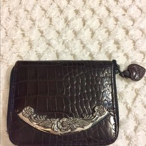 BRIGHTON Dark Brown Reptile Silver Detail Wallet
